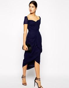 Платье миди с юбкой тюльпан VLabel London - Темно-синий