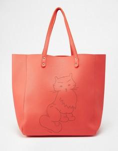 Сумка-шоппер с кошкой Paul & Joe Sister - Оранжевый