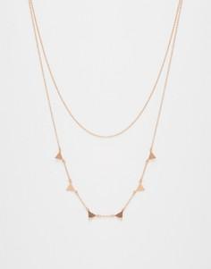 Ожерелье в два ряда с треугольниками Orelia - Золотой