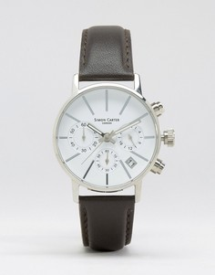 Simon Carter Chronograph Leather Watch With White Dial In Brown - Черный
