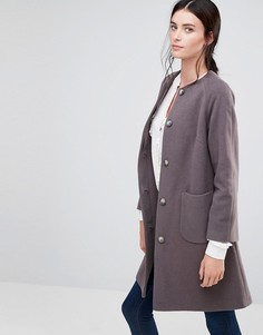Серо-коричневое расклешенное пальто без воротника Helene Berman - Кремовый