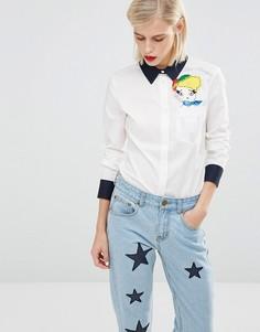 Рубашка со съемной фетровой аппликацией в виде куклы Love Moschino - Белый