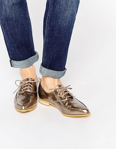Золотистые туфли на плоской подошве со шнуровкой Daisy Street - Золотой