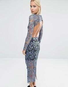 Кружевная юбка миди с открытой спинкой Lavish Alice - Синий