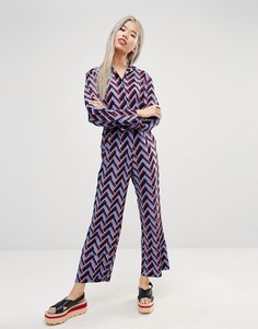 STYLENANDA Chevron Print Relaxed Trouser Co-Ord - Мульти