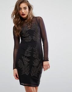 Платье с длинными рукавами и вышивкой Miss Selfridge - Черный
