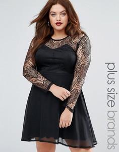 Короткое приталенное платье с кружевной отделкой Boohoo Plus - Черный