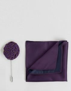 Платок для нагрудного кармана и булавка на лацкан с цветком Devils Advocate - Фиолетовый