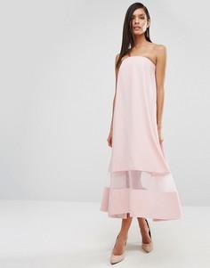 Платье миди с прозрачной вставкой AQAQ Sinead - Розовый