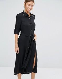 Платье-рубашка с ремнем Closet - Черный