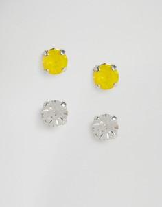 Серьги-гвоздики с кристаллами Swarovski Krystal - Желтый