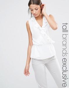 Блузка без рукавов с запахом и оборками Alter Tall - Кремовый