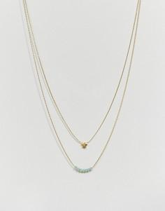 Ожерелье в 2 ряда со звездочкой и бусинами Orelia - Золотой