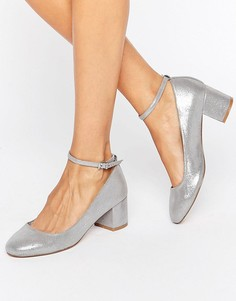 Faith Alexa Ankle Strap Silver Mid Heeled Shoes - Серебряный