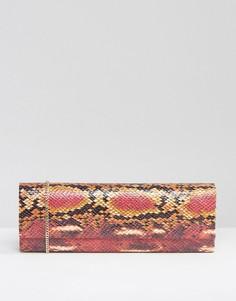 Клатч из искусственной змаиной кожи Lotus - Красный