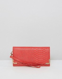 Yoki Fashion Faux Snakeskin Fold Over Purse - Красный