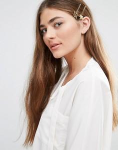 Комплект из 2 заколок для волос со звездами DesignB - Золотой