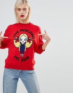 Джемпер с узором куклы Love Moschino - Красный