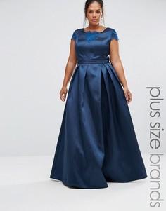 Chi Chi London Plus Lace Insert Maxi Dress - Темно-синий