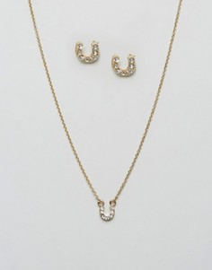 Подарочный набор из ожерелья и сережек с подковами Johnny Loves Rosie - Золотой