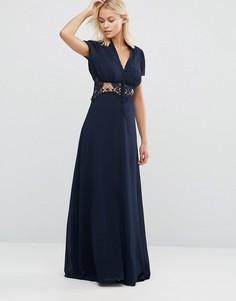 Платье макси со вставкой-кроше Jarlo Kelly - Темно-синий