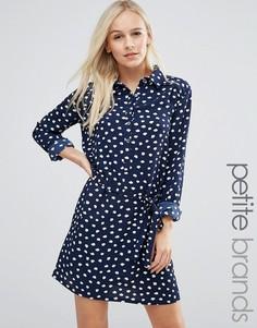 Платье-рубашка в горошек Yumi Petite - Темно-синий