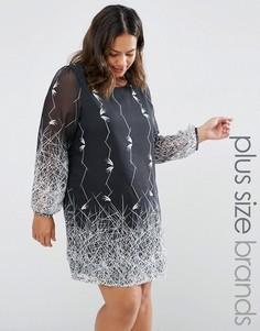 Цельнокройное платье с принтом Yumi Plus - Черный