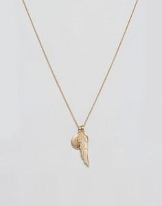 Ожерелье с подвесками в виде крыльев Chained & Able - Золотой