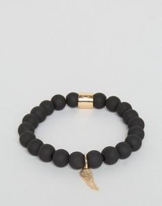 Черный матовый браслет с бусинами и подвеской в виде крыльев Chained & Able - Черный