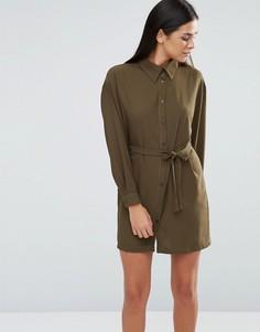 Платье-рубашка с поясом Love - Зеленый