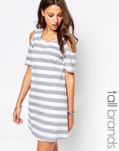 Платье в полоску с открытыми плечами Vero Moda Tall - Мульти