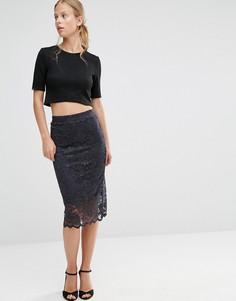 Кружевная юбка с фактурной отделкой по краю Ganni - Мульти