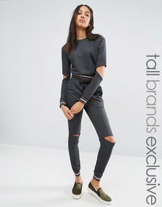 One Day Tall Metallic Ribbed Track Pant With Cutout Knee - Мульти