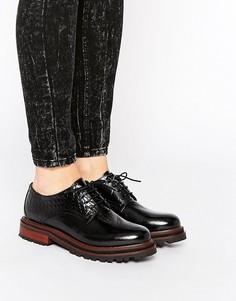 Кожаные туфли на шнуровке и плоской подошве H by Hudson Hollin - Черный