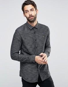 Черная фактурная рубашка слим Farah - Черный