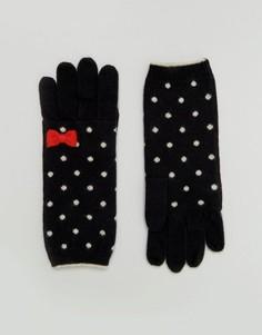 Классические перчатки в горошек Alice Hannah - Черный