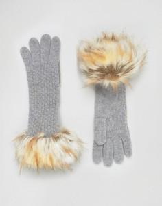 Вязаные перчатки с узором Alice Hannah - Белый