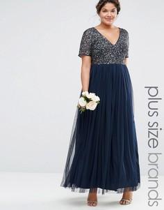Тюлевое платье макси с V‑образным вырезом и пайетками Lovedrobe Luxe - Темно-синий