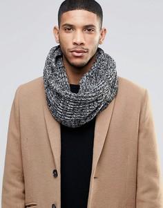 Черный меланжевый шарф-снуд Threadbare - Черный