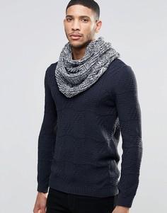 Синий меланжевый шарф‑снуд Threadbare - Синий
