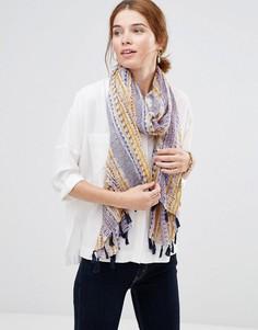 Полосатый шарф с кисточками Hat Attack - Темно-синий