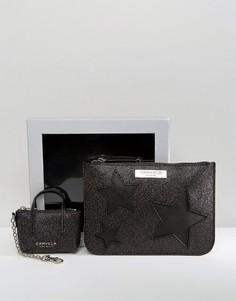 Чехол с отделкой блестками и брелок для ключей с миниатюрной сумочкой в подарочной упаковке Carvela - Черный