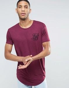 Меланжевая футболка с закругленным низом SikSilk - Красный