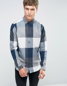 Хлопковая рубашка с начесом в клетку Only & Sons - Темно-синий