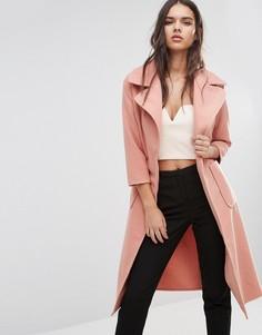 Пальто с поясом Boohoo - Розовый