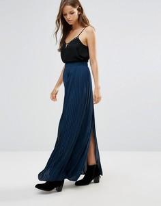 Синяя юбка макси с разрезом сбоку Lavand - Синий