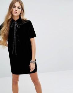 Бархатное чайное платье с завязкой на горловине Motel Belia - Черный