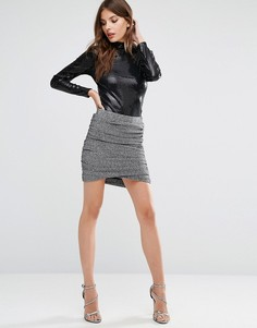 Y.A.S Lisa Shimmer Twist Skirt - Серебряный