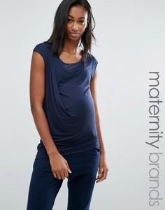 Трикотажный топ для кормящих мам с драпировкой Mamalicious - Темно-синий Mama.Licious