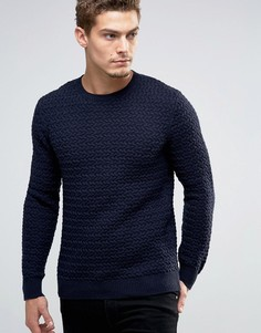 Джемпер неплотной вязки с круглым вырезом Esprit - Темно-синий